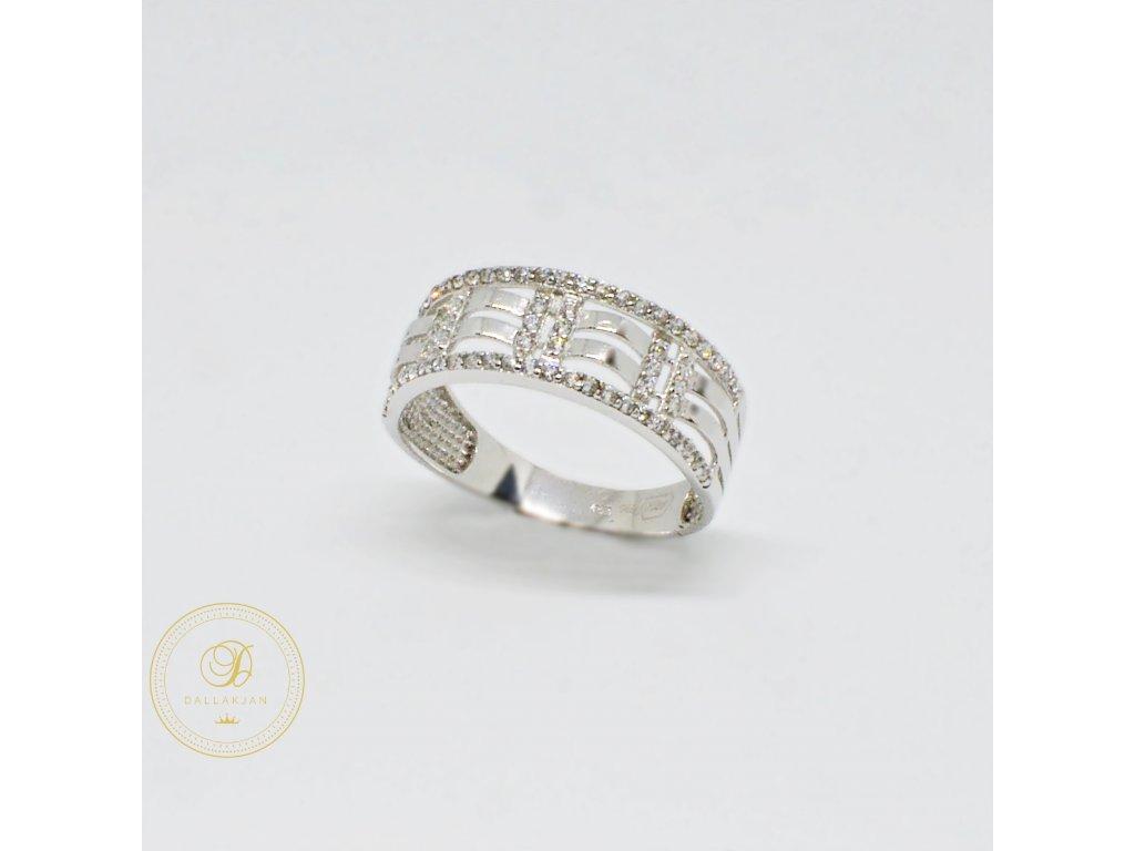 Prsten z bílého zlata vlnitá mřížka se zirkony (Velikost 59)