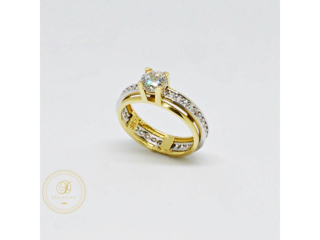Prsten z kombinovaného zlata s dvojitou obroučkou se zirkony (Velikost 53)