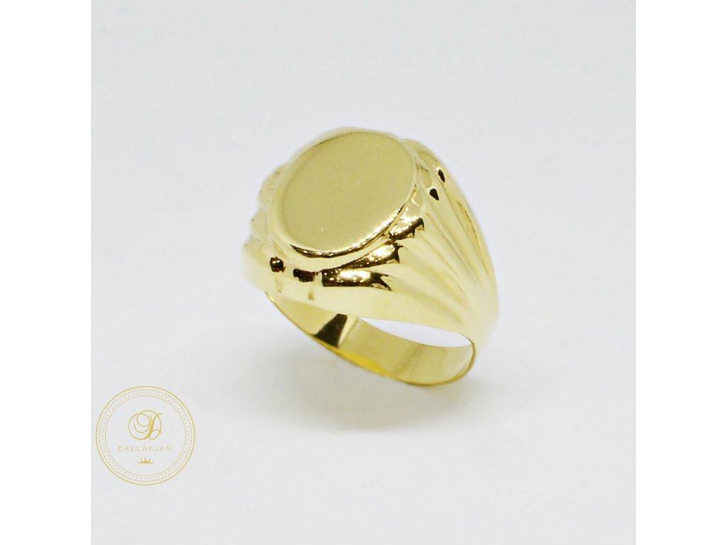 Prsten ze žlutého zlata se širokou hlavou (Velikost 70)