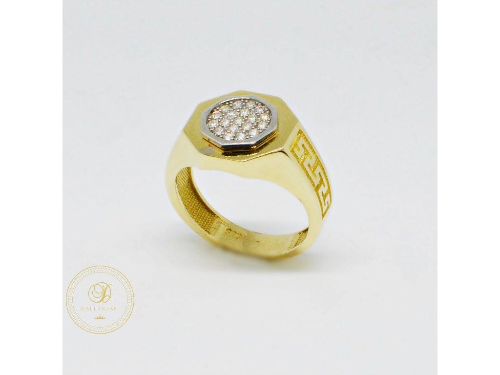 Prsten ze žlutého zlata s antickými vzory se zirkony (Velikost 62)