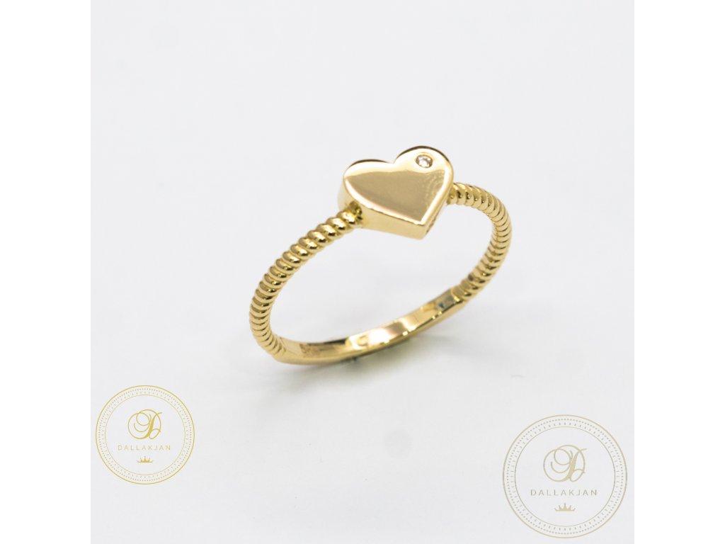Jemný dámský prsten ze žlutého zlata se symbolem srdičko (Velikost 59)