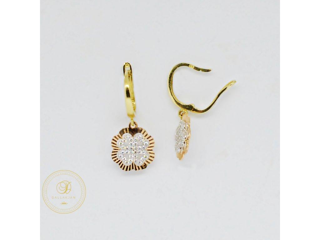 1751 nausnice z kombinovaneho zlata ctyrlistek se zirkony