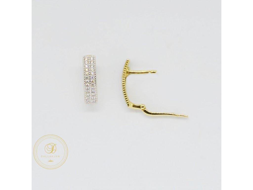 1787 nausnice ze zluteho zlata dvouradove se zirkony