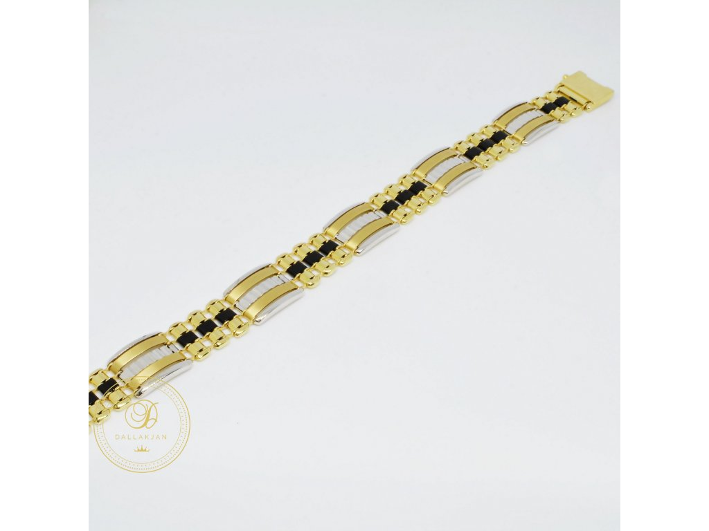 Luxusní náramek z kombinovaného zlata s onyxem (Délka 22 cm, Ryzost 585/1000)