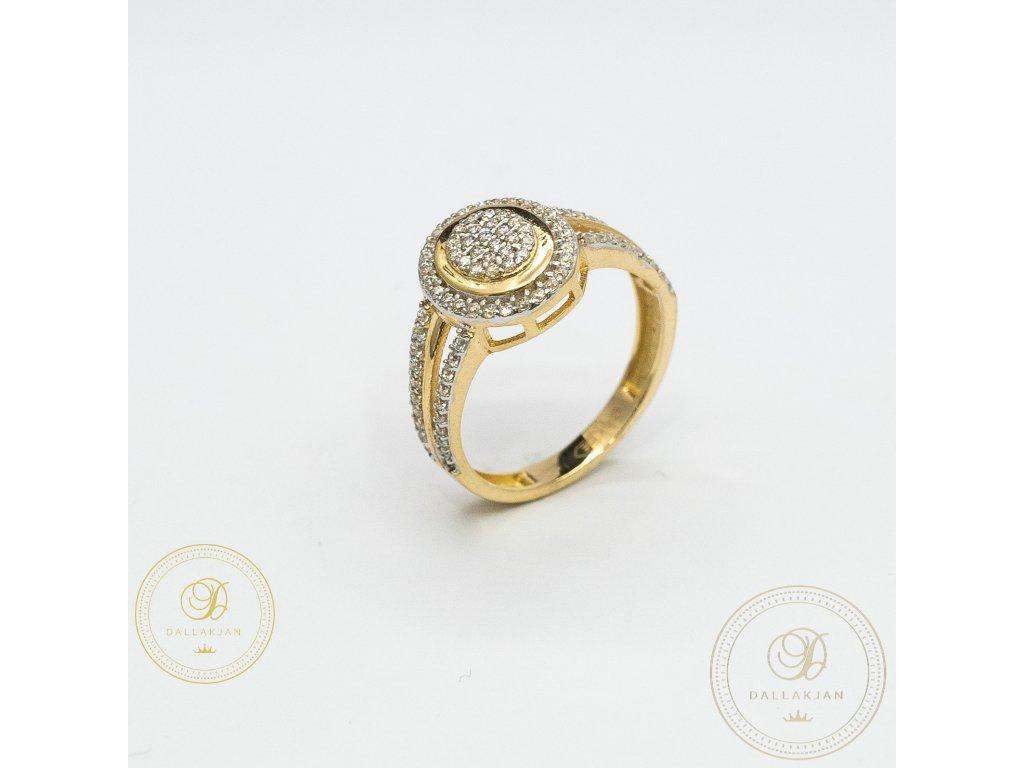 Zásnubní prsten ze žlutého zlata zdobený zirkonem (Velikost 53)