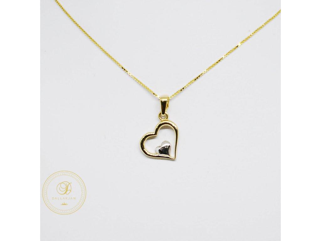 Řetízek Plochý, kombinované zlato, přívěsek srdce (Velikost 1, Velikost v cm 42)
