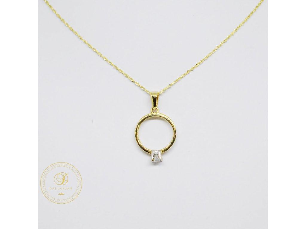 Řetízek Ankr, kombinované zlato, přívěsek prsten (Velikost 1, Velikost v cm 43)