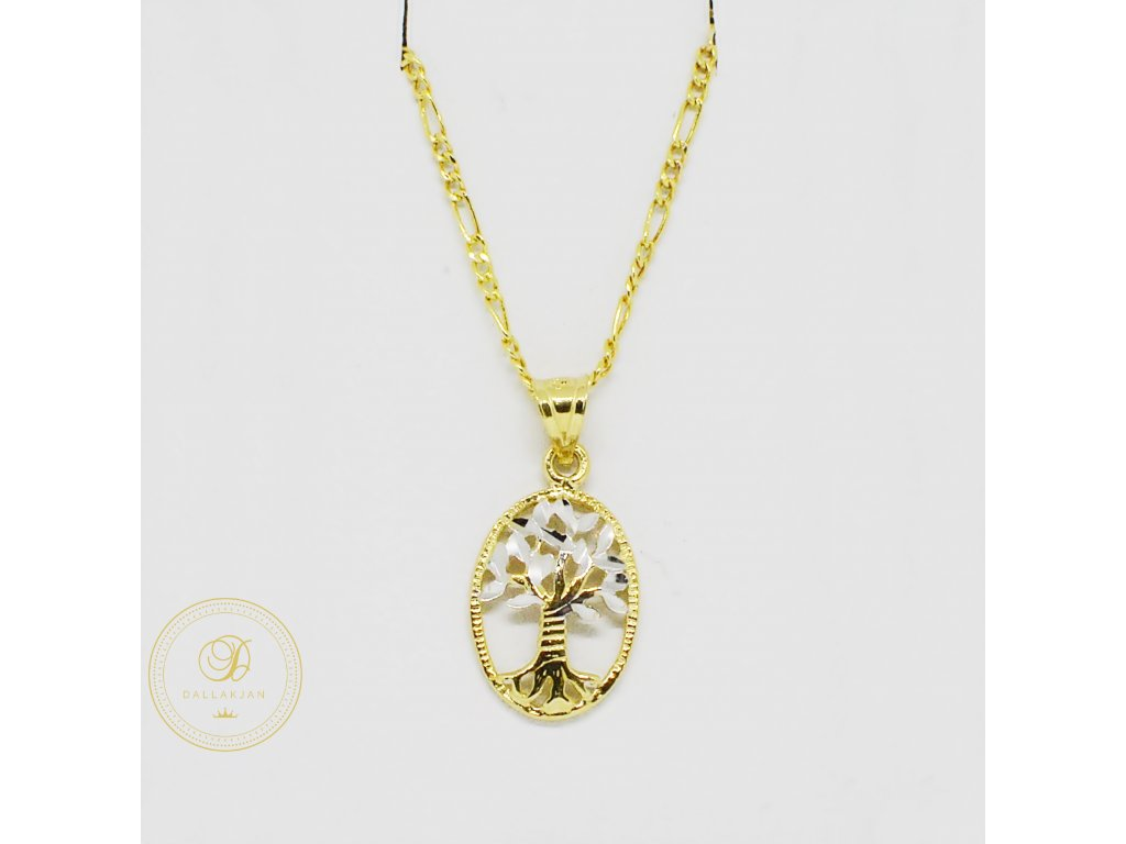 1910 retizek figaro kombinovane zlato privesek strom zivota
