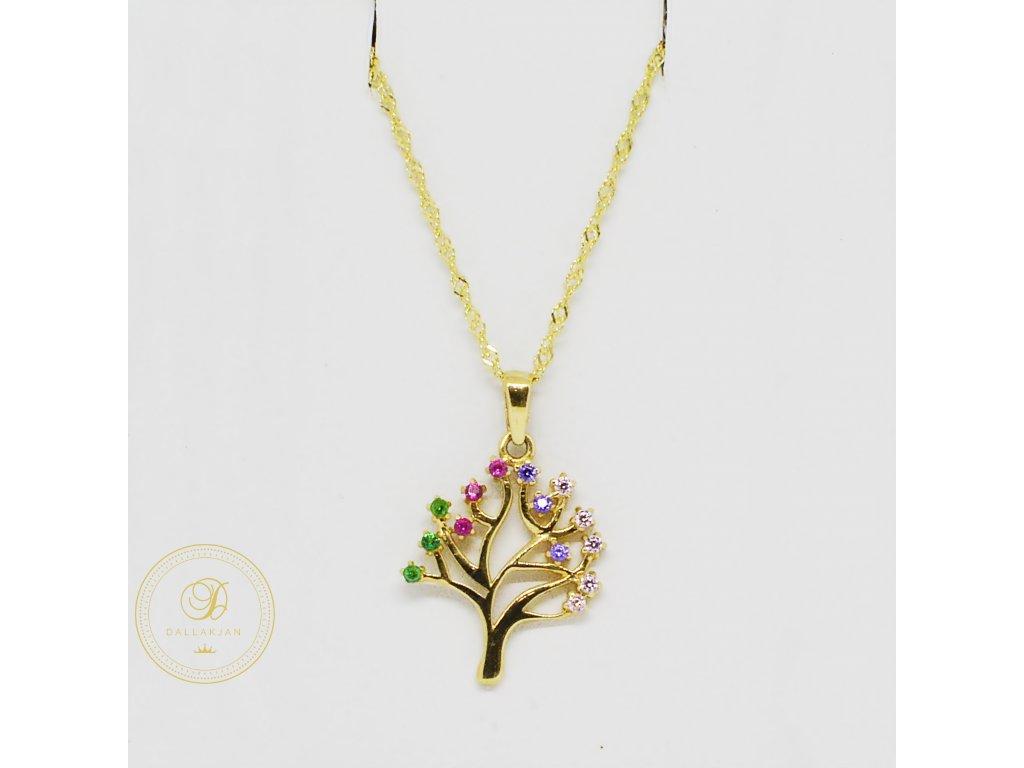 Řetízek, žluté zlato, přívěsek strom, barevné zirkony