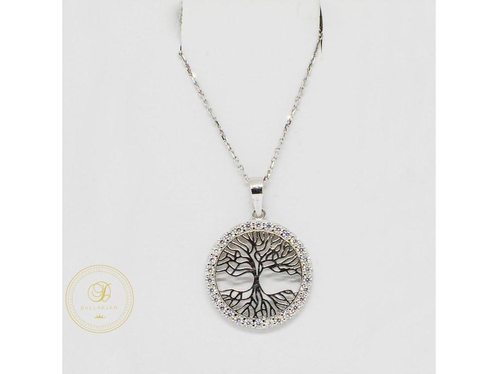 Řetízek Ankr, bílé zlato, přívěsek strom života, zirkony