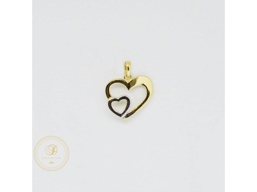 1982 privesek kombinovane zlato dvojite srdce