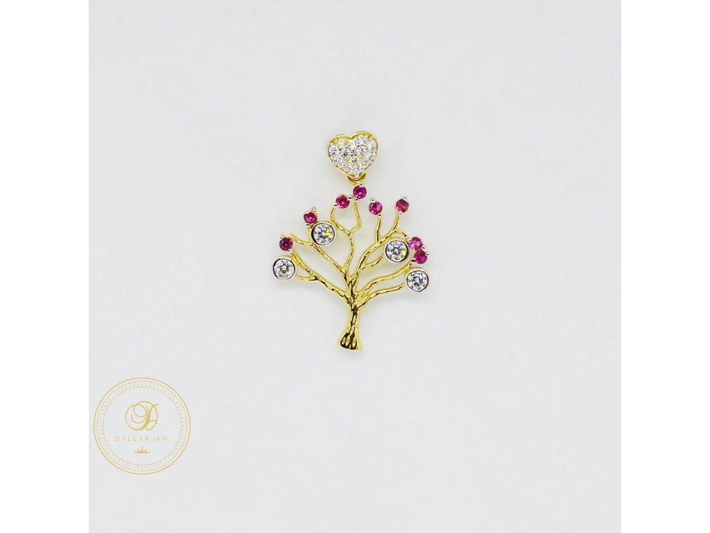 1985 privesek zlute zlato strom zirkony