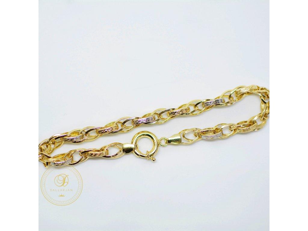 Náramek, kombinované zlato (Délka 20 cm, Ryzost 585/1000)
