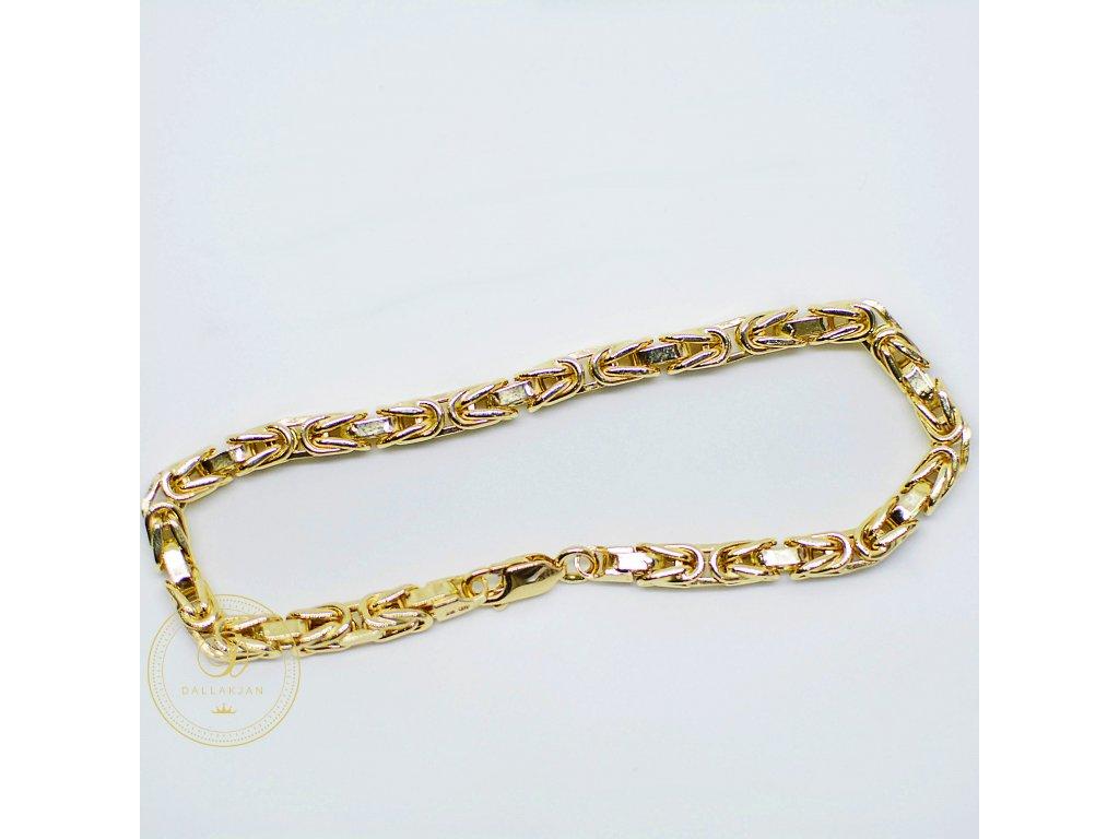 Náramek, královská vazba, žluté zlato (Délka 20,5 cm, Ryzost 585/1000)