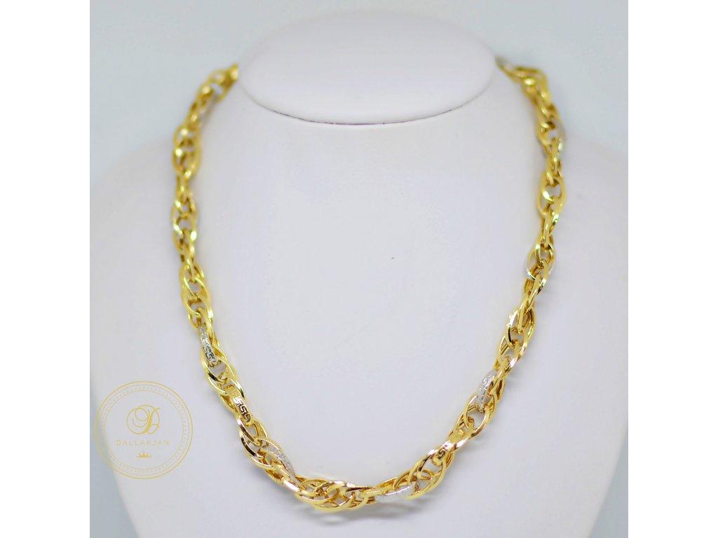 Řetízek, kombinované zlato, antický vzor (Délka 51 cm, Ryzost 585/1000)