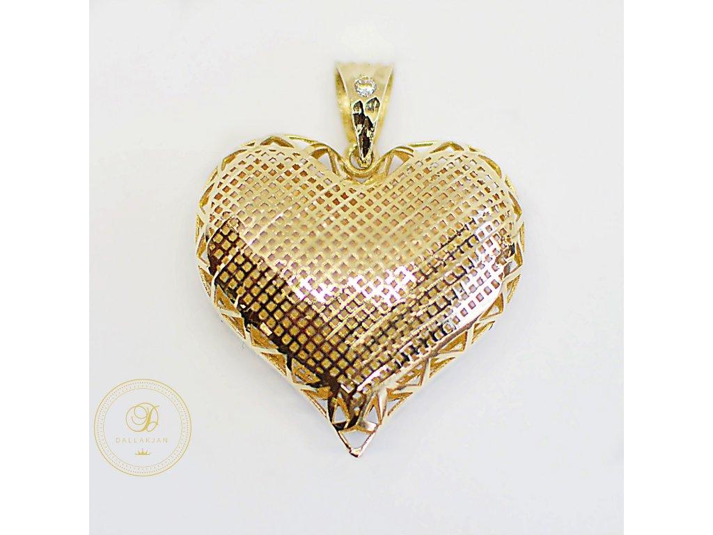 Přívěsek, žluté zlato, srdce, zirkon