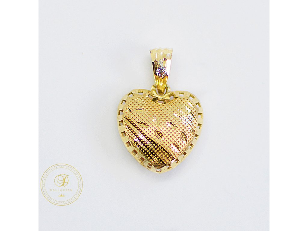 2153 privesek zlute zlato srdce zirkon