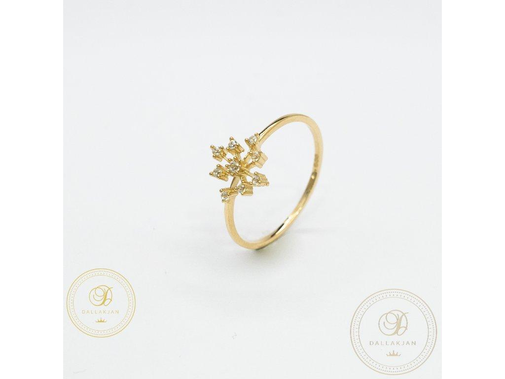 Jemný dámský prsten ze žlutého zlata se symbolem vločky (Velikost 56)