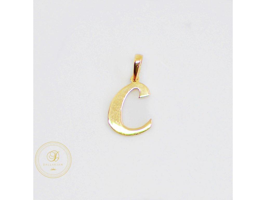 2189 privesek zlute zlato pismeno c