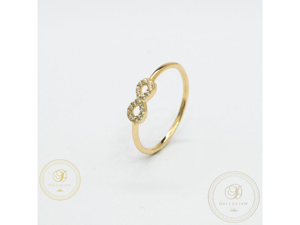 Dámský jemný prsten ze žlutého zlata se znakem nekonečno (Velikost 57)