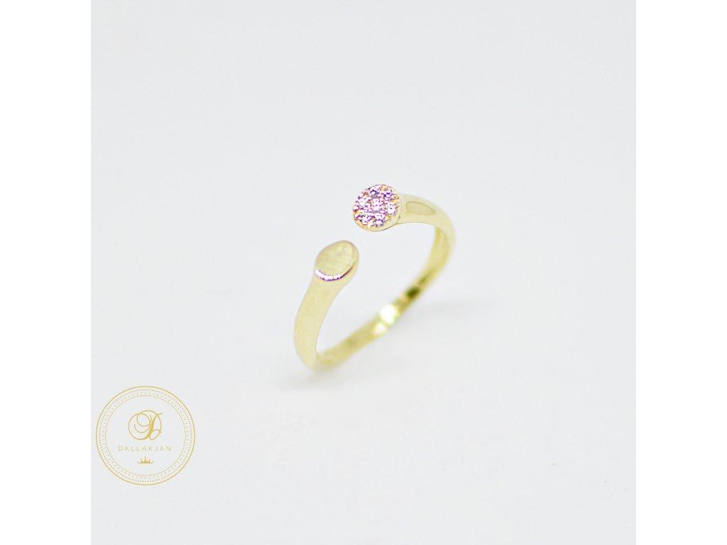 Prsten, žluté zlato, zirkony (Ryzost 585/1000, Velikost 54)