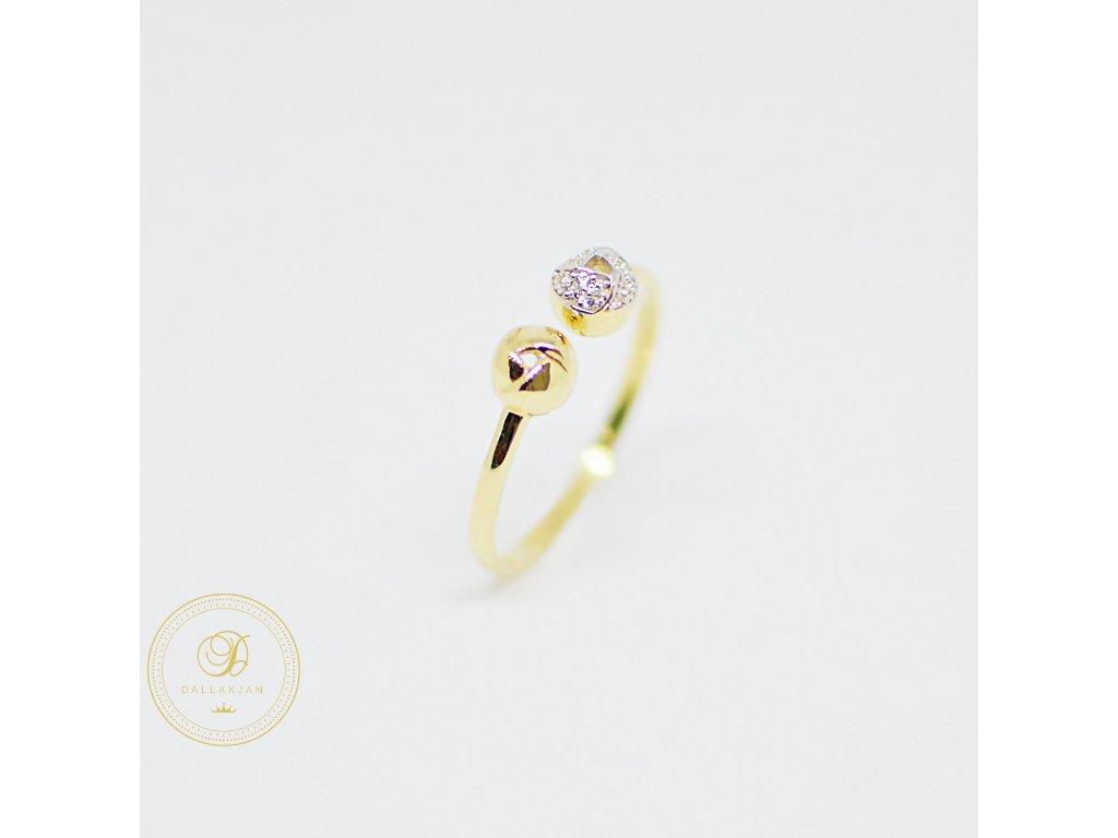 Prsten, žluté zlato, zirkony (Ryzost 585/1000, Velikost 62)