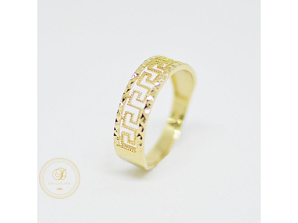Prsten, žluté zlato, zirkony, antický vzor (Ryzost 585/1000, Velikost 65)