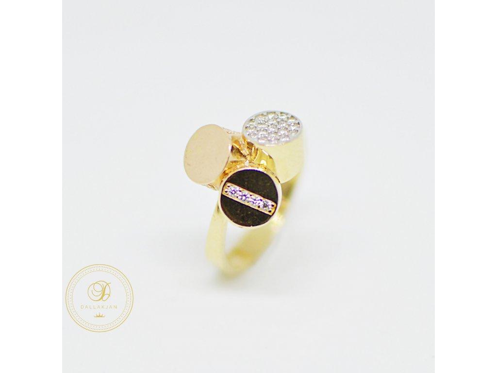 Prsten, kombinované zlato, zirkony (Ryzost 585/1000, Velikost 58)