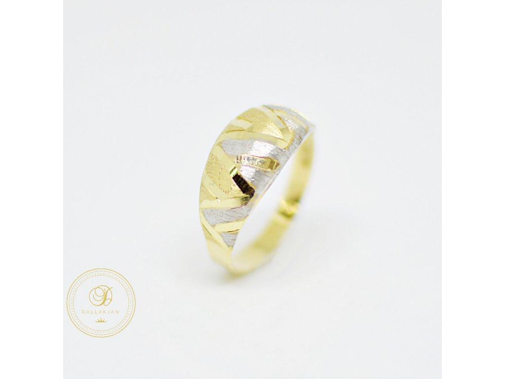 Prsten, kombinované zlato, zirkony (Ryzost 585/1000, Velikost 60)