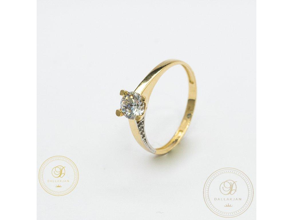 Zásnubní prsten ze žlutého zlata zdobený zirkonem (Velikost 55)