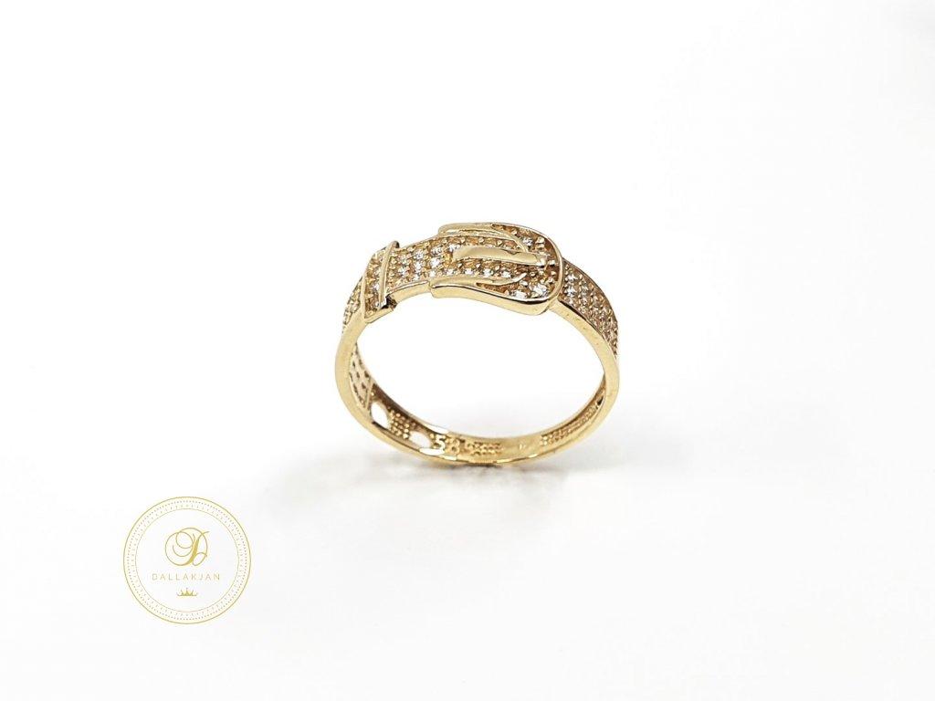 Prsten, žluté zlato, zirkony