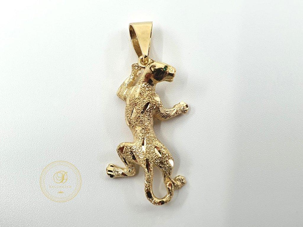 Přívěsek, žluté zlato, Panter (Ryzost 585/1000, Váha v g 2.85)
