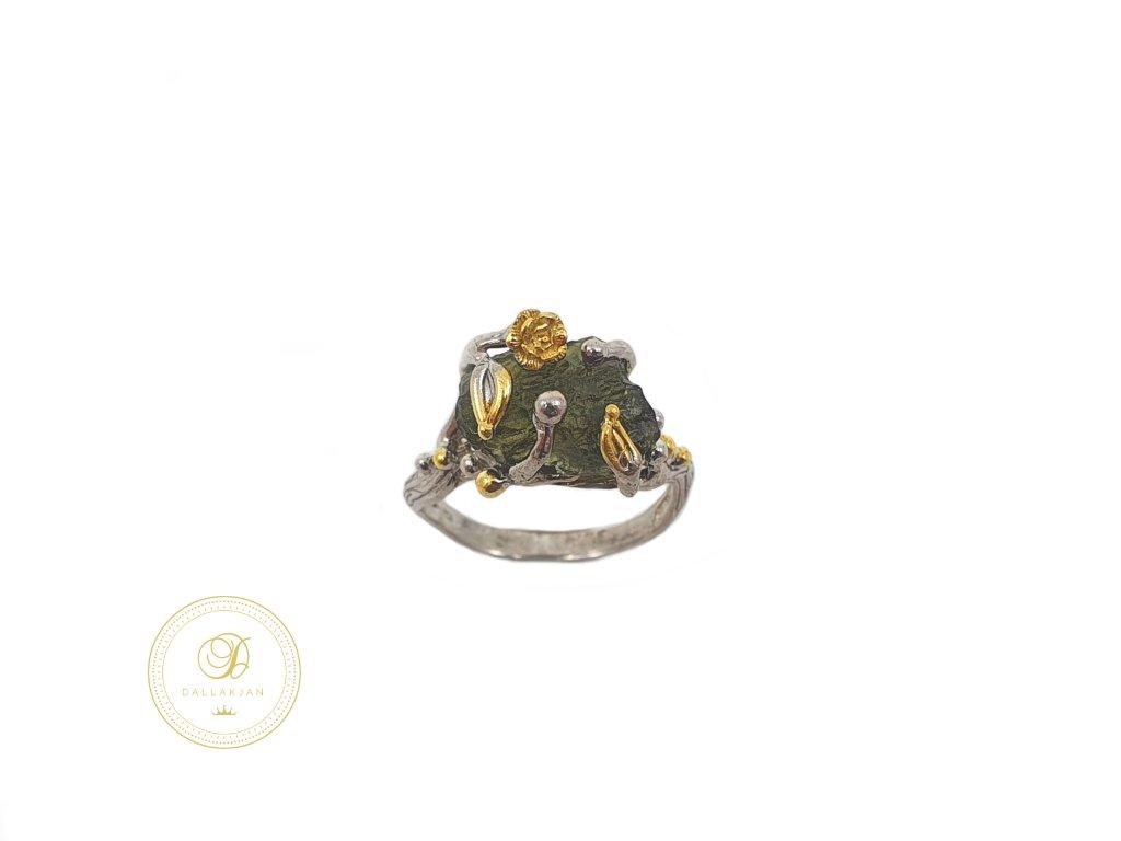 Prsten, stříbro, vltavín