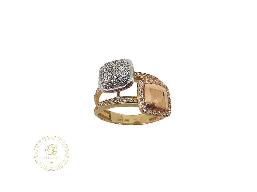 Prsten, kombinované zlato, zirkony
