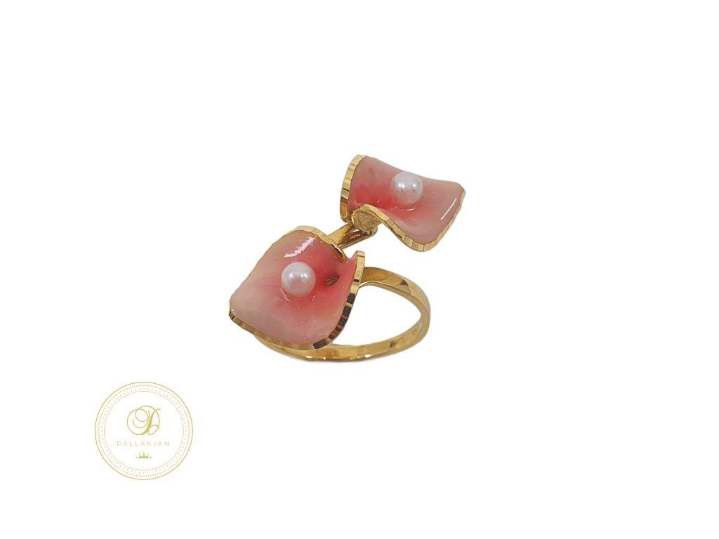 Prsten, žluté zlato, perla