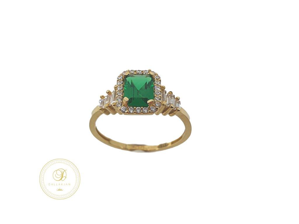 Prsten, žluté zlato, smaragd, zirkony