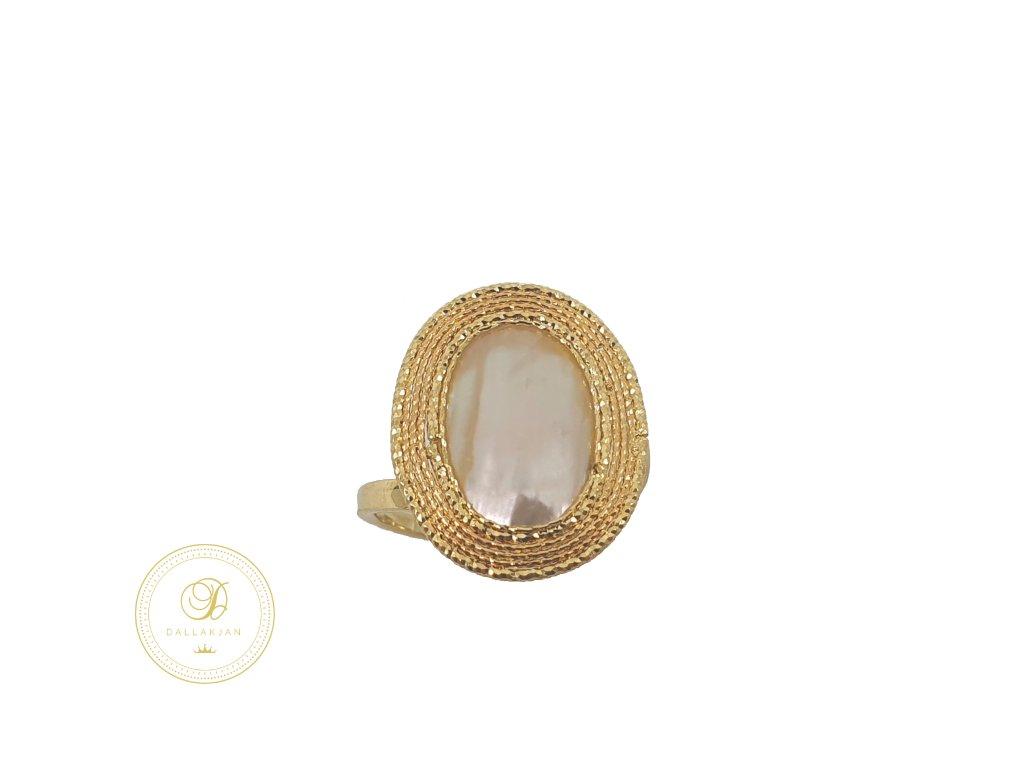 Prsten, žluté zlato, perleť