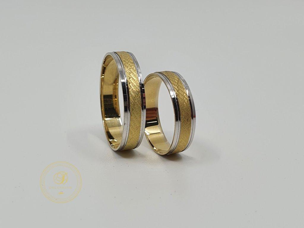 Moderní snubní prsteny v kombinaci žlutého a bílého zlata (Velikost 68 57)
