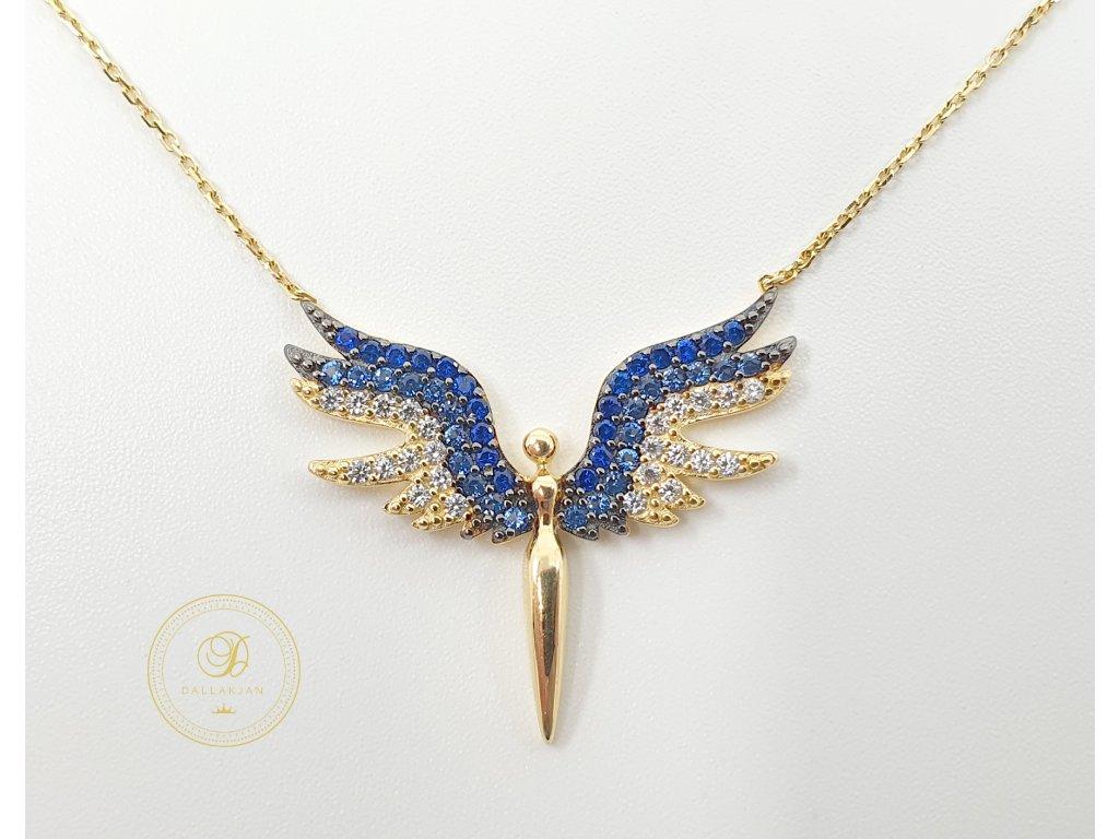 Řetízek, žluté zlato, přívěsek anděl, zirkony