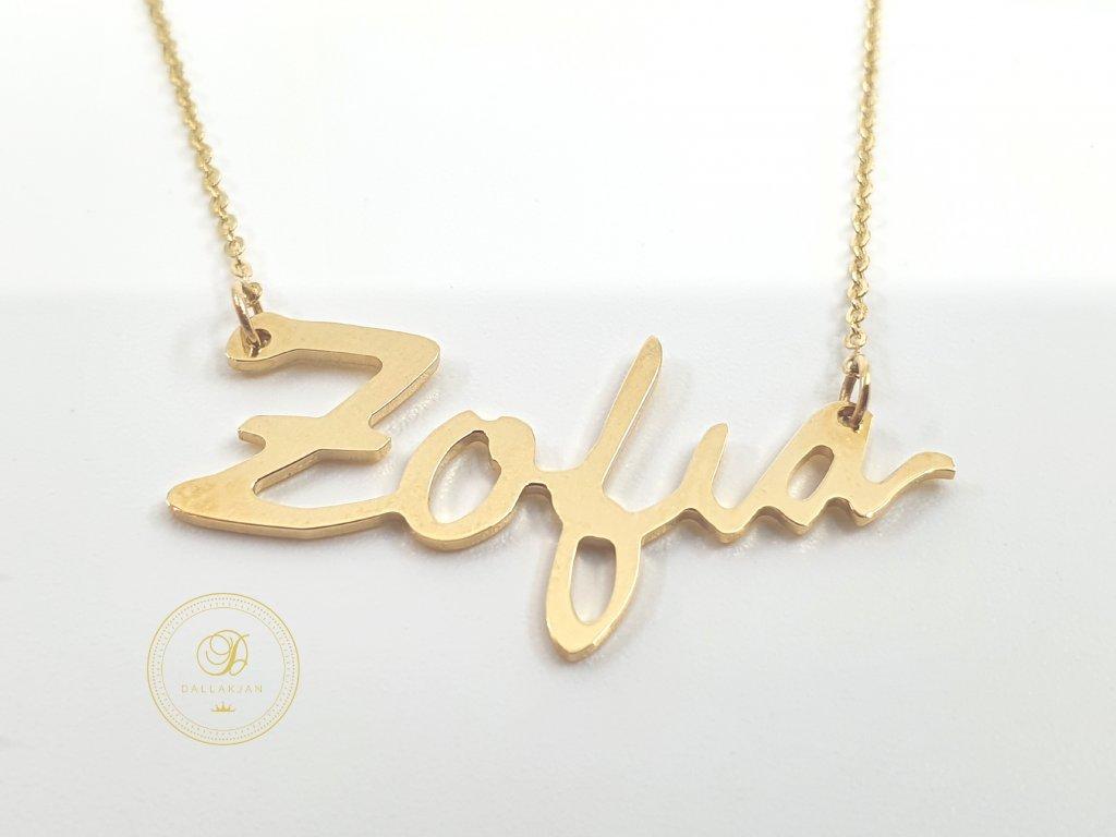 Řetízek, žluté zlato, přívěsek, Zofia