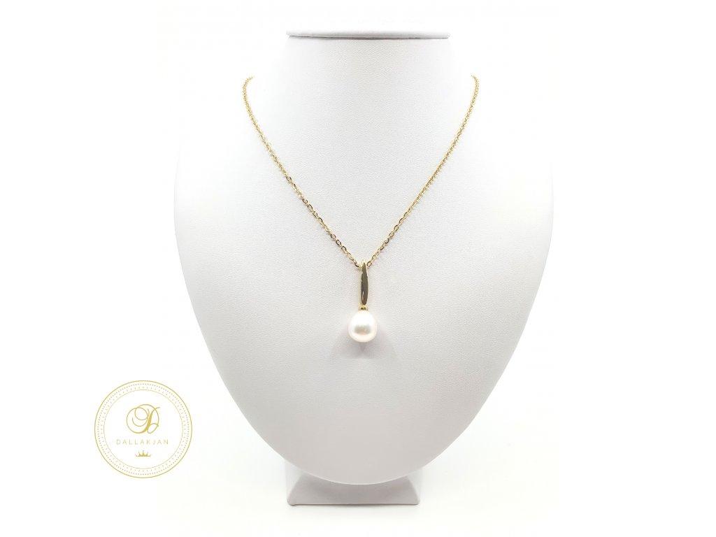 Řetízek, žluté zlato, přívěsek, perla