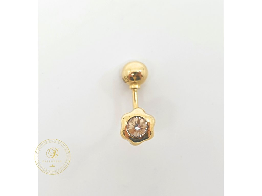 Piercing ve tvaru kytičky, žluté zlato