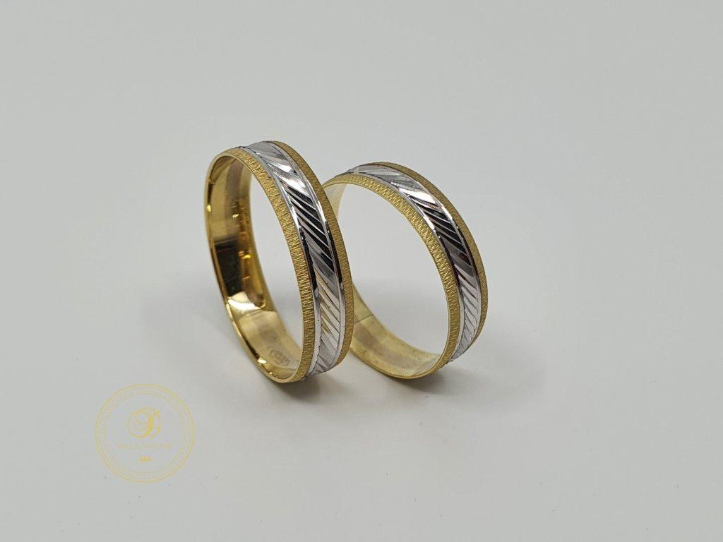 Moderní snubní prsteny kombinované žlutým a bílým zlatem (Velikost 66 57)