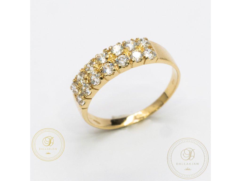 Dámský zlatý prsten ze žlutého zlata zdobený zirkonem (Velikost 59)