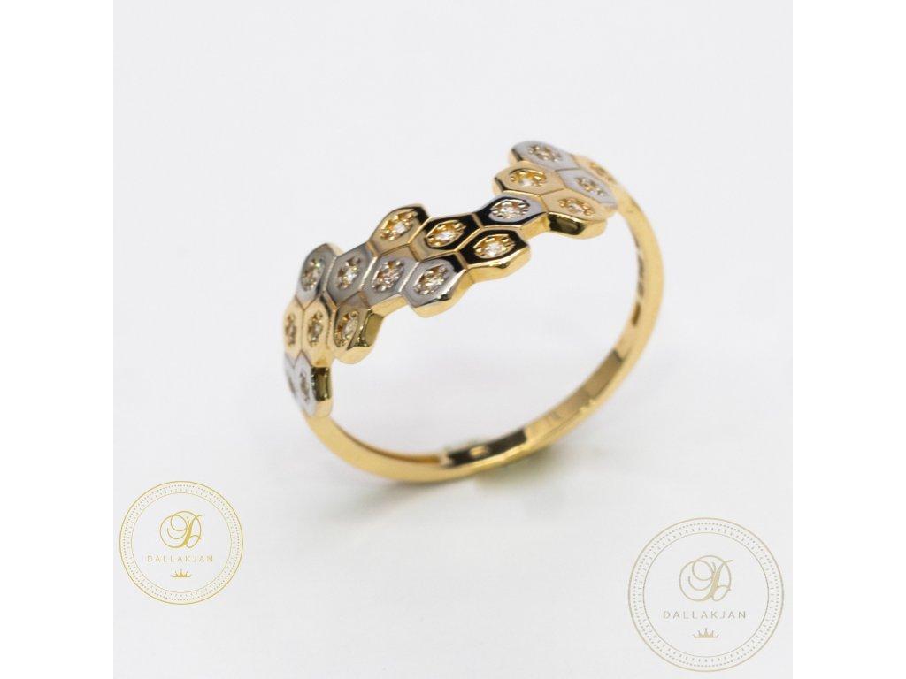 Dámský zlatý prsten kombinovaný s bílým zlatem (Velikost 61)