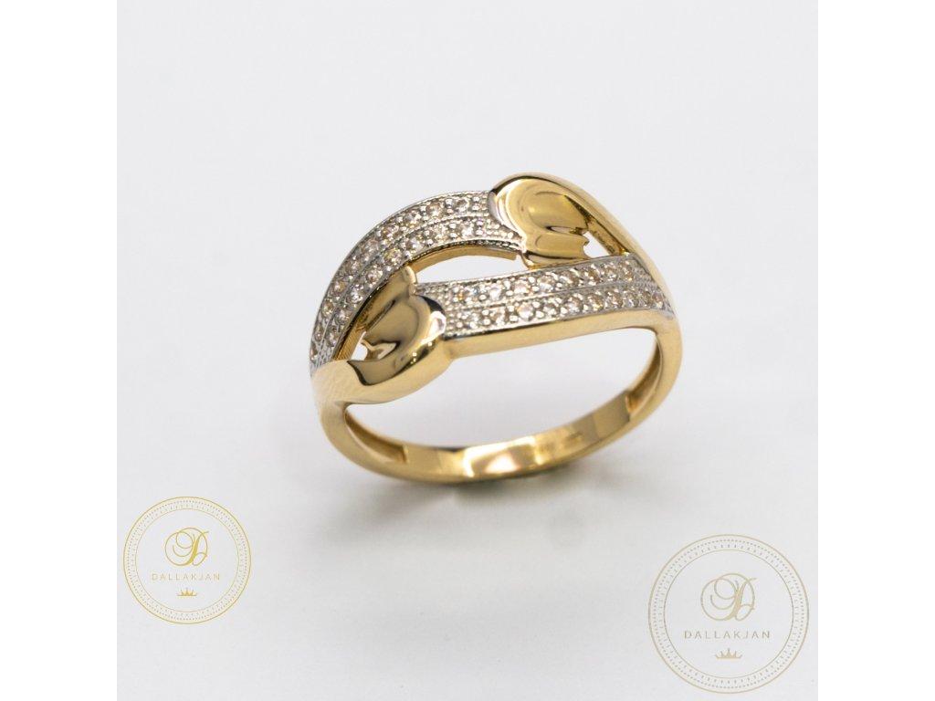 Dámský zlatý prsten zdobený zirkonem (Velikost 57)