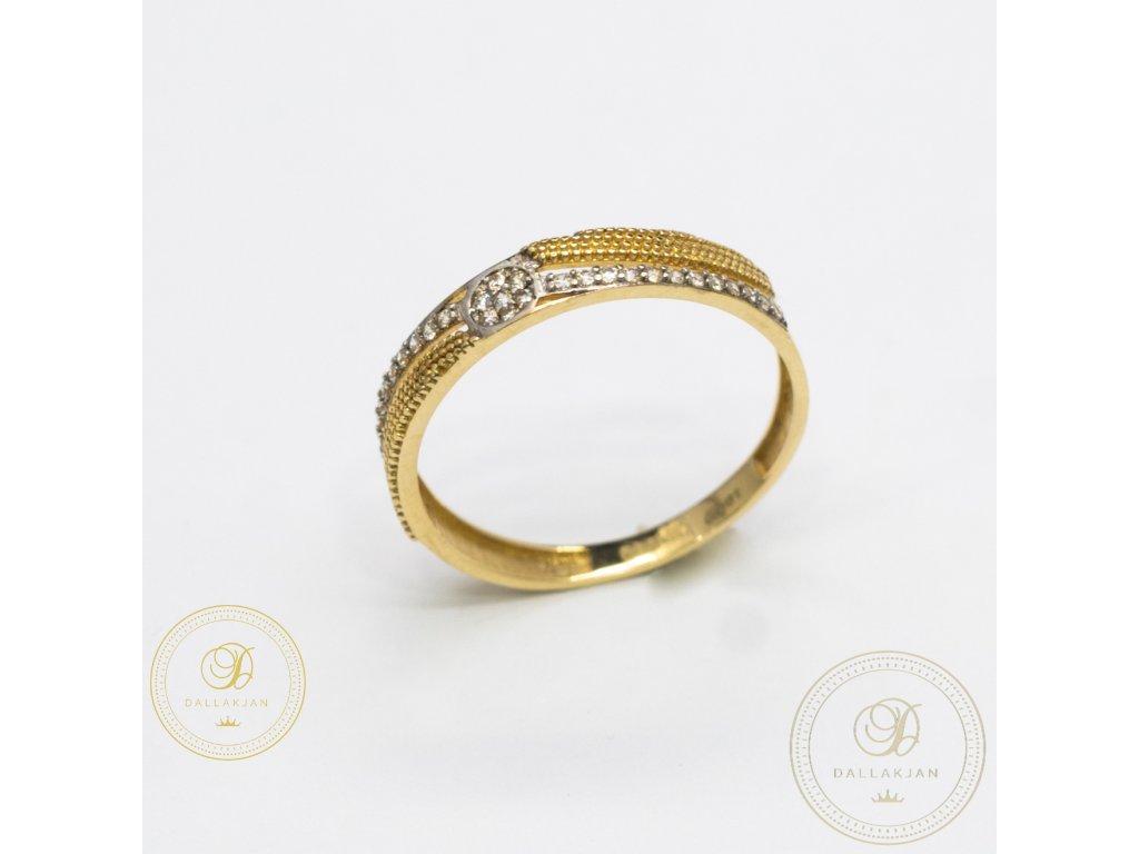 Jemný snubní prsten kombinované  bílým a žlutým zlatem (Velikost 59)