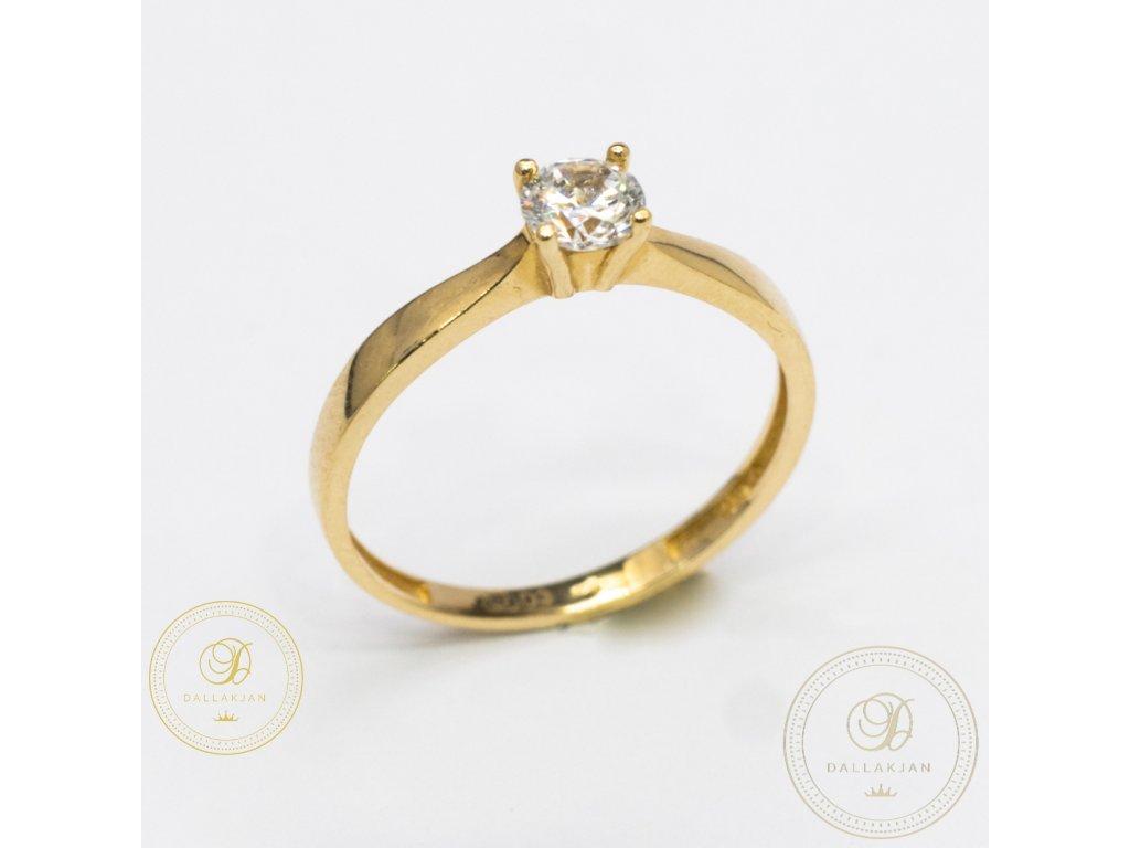 Jemný zásnubní prsten zdobený zirkonem (Velikost 57)