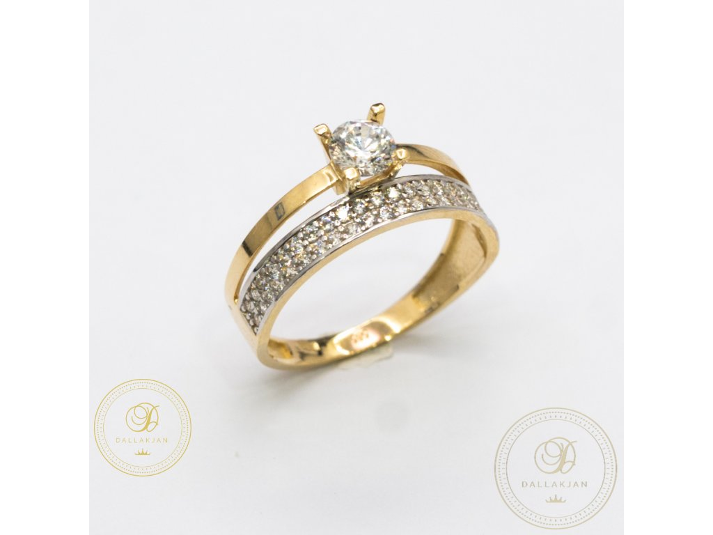 Zásnubní prsten ze žlutého zlata zdobený zirkonem (Velikost 56)