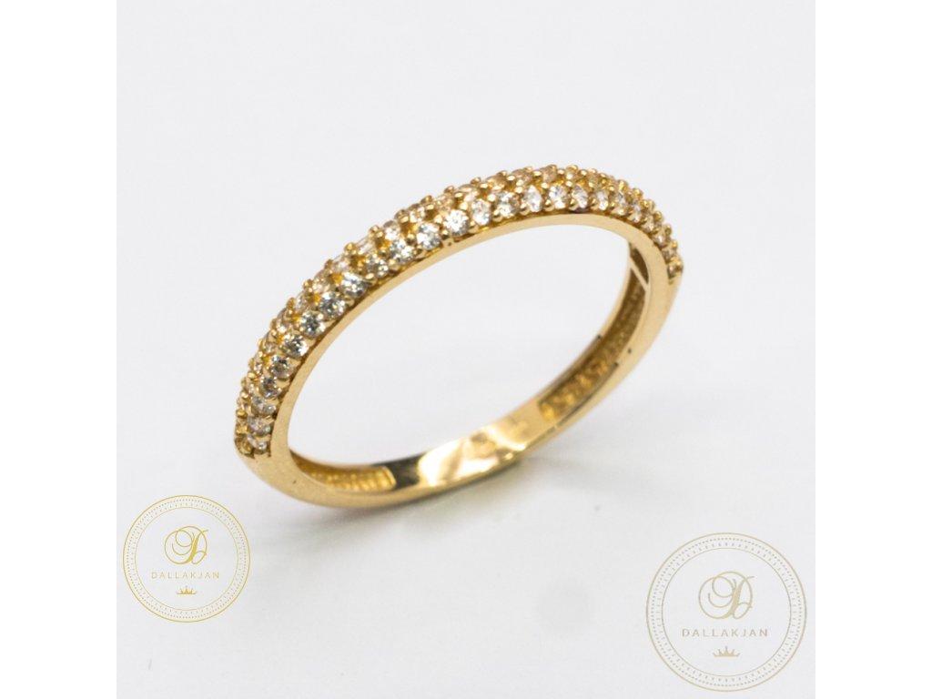 Jemný dámský prsten ze žlutého zlata zdoben zirkonem (Velikost 54)